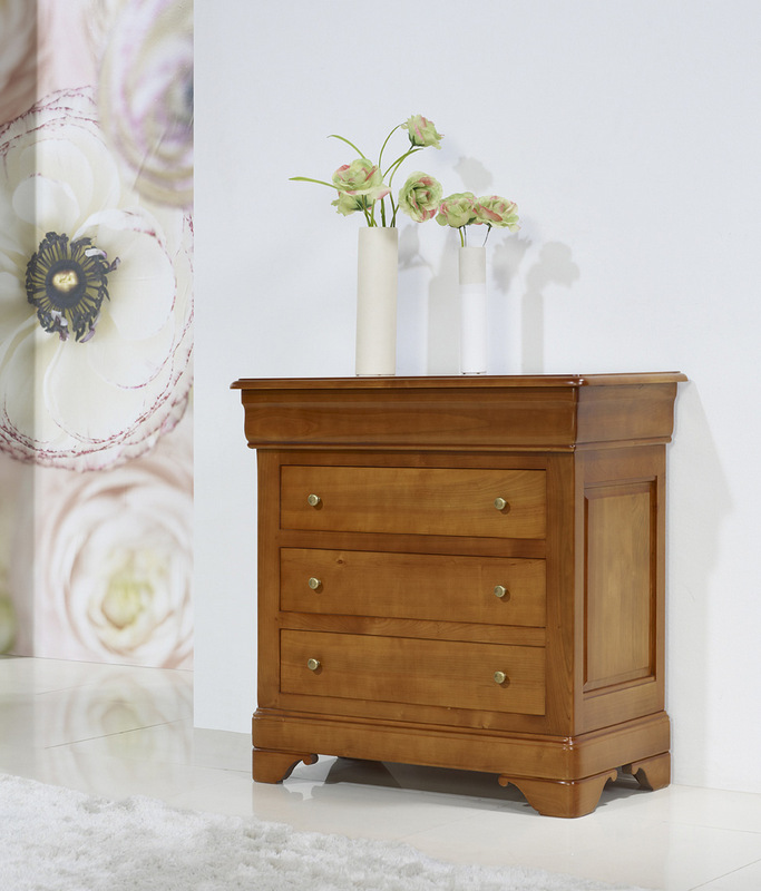 Petite Commode 4 tiroirs   en Merisier Massif de style Louis Philippe