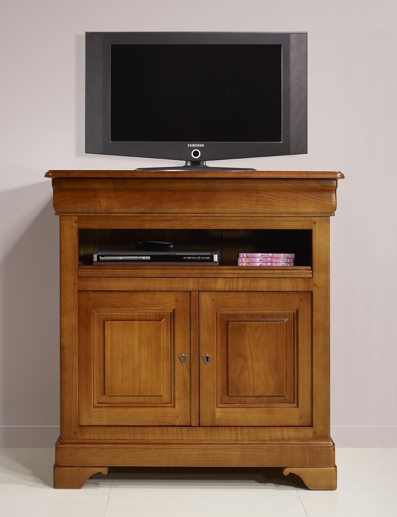 meuble tv 2 portes gabrielle realise en merisier massif de style louis philippe