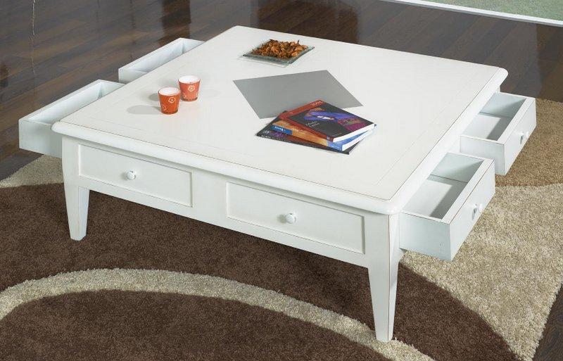 Table Basse 100x100 Iris Realisee En Merisier De Style Directoire