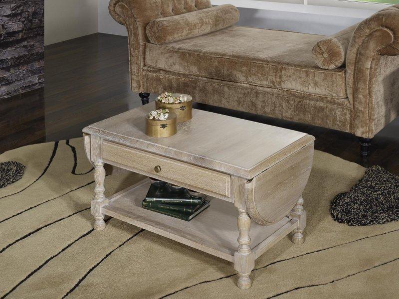 Table basse à volets Jean  en Chêne massif de style Louis Philippe Finition Chêne Brossé Blanchi