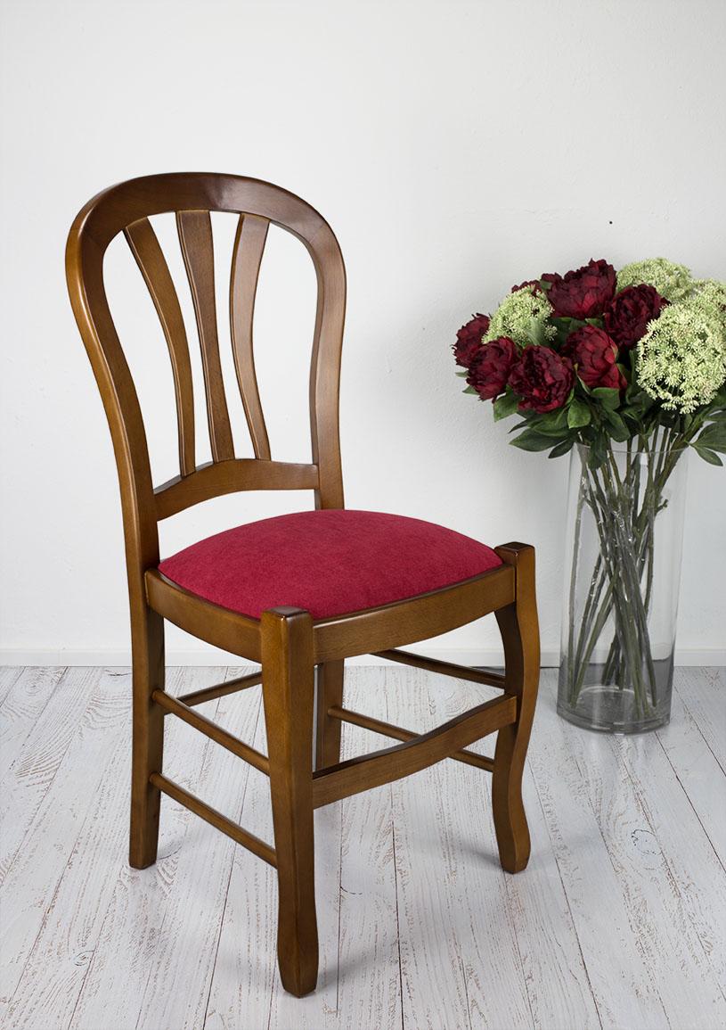 Chaise Camille  en Hêtre Massif assise tissu de style Louis Philippe