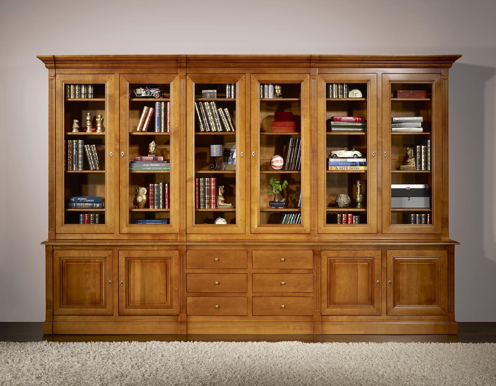Bibliotheque 2 Corps 6 Portes Sabine Realisee En Merisier Massif De Style Directoire