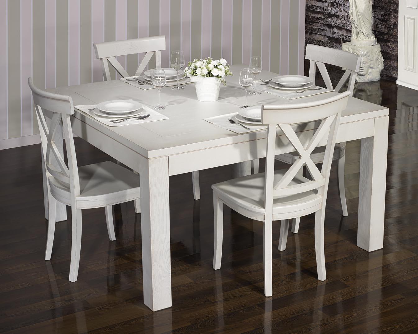 Table A Manger Carree table de salle à manger 140*140 contemporaine réalisée en chêne finition  chêne brossé gris perle