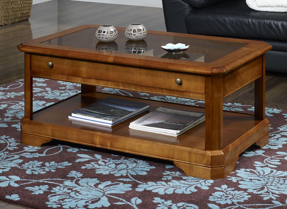 Table Basse   en Merisier Massif de style Louis Philippe TIROIR VITRINE