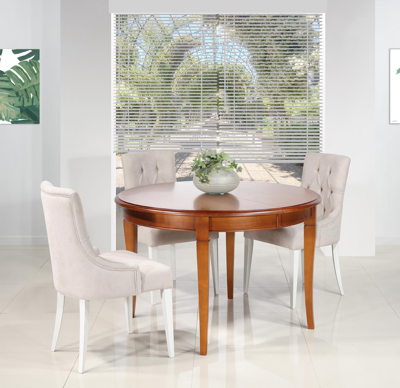 Table ronde 4 pieds sabres Camille  en merisier massif de style Louis Philippe DIAM.120 +  2 allonges de 40 cm SEULEMENT 1 DISPONIBLE