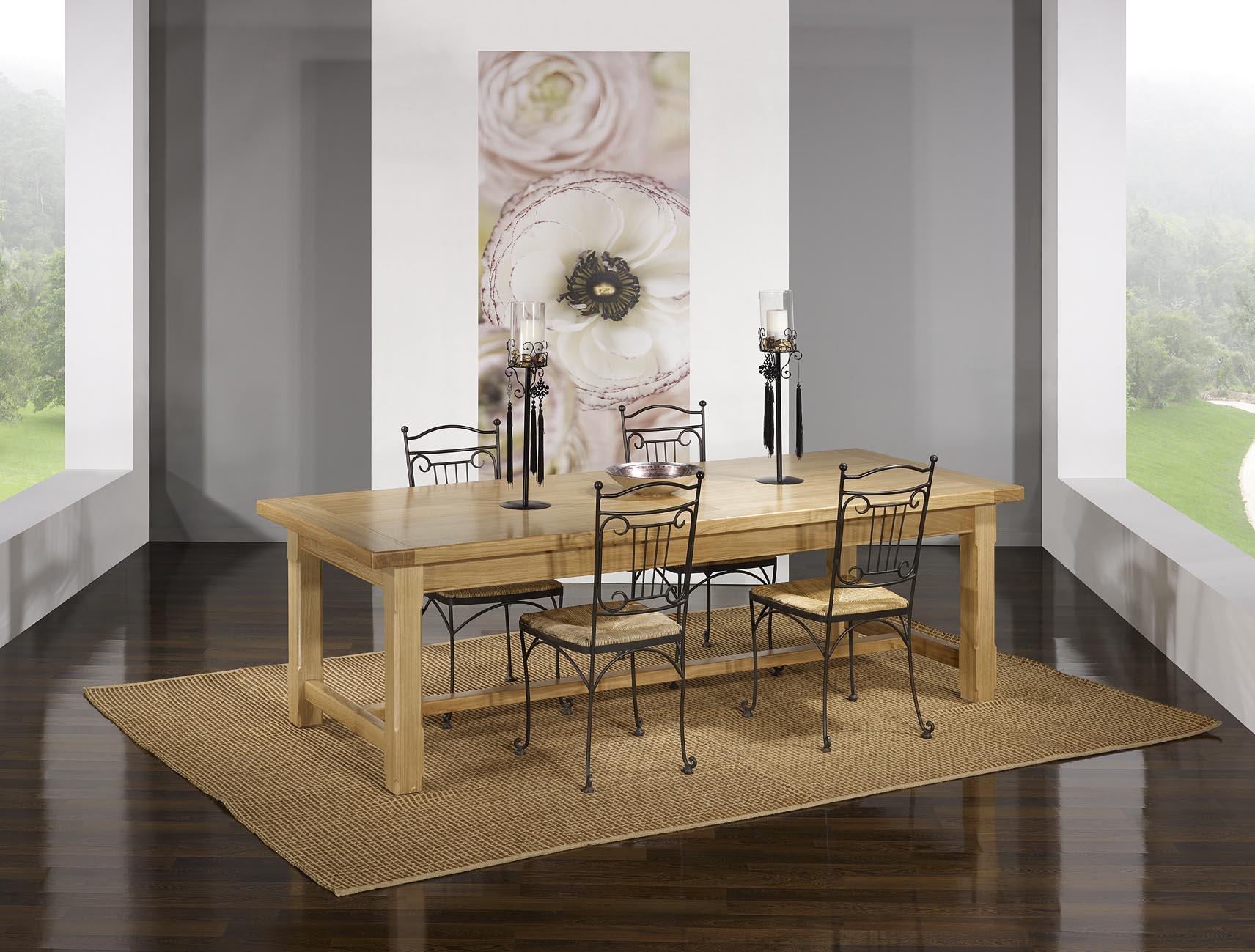 Table de Ferme Axel  en Chêne Massif 250x100 + 2 allonges de 45 cm Finition traditionnelle