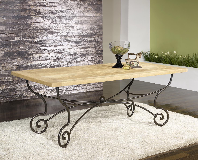 Chaise Fer Forgé Et Bois table rectangulaire 200*100 plateau chêne massif finition chêne naturel
