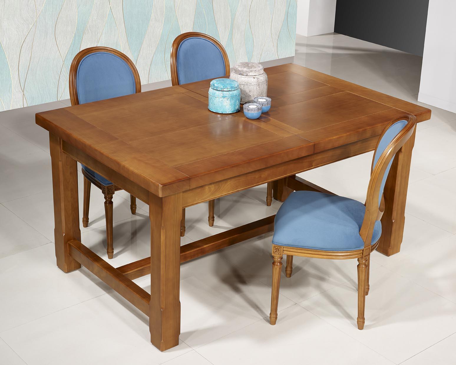 Table de ferme rectangulaire Mathis réalisée en MERISIER massif 112x112 + 12  allonges de 12 cm