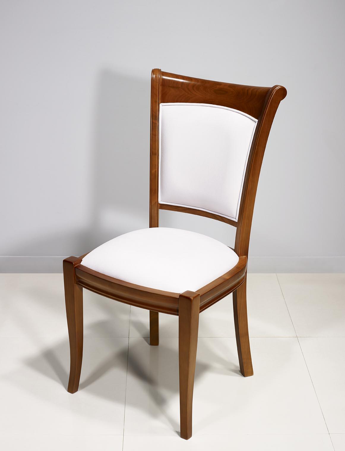 Chaise ine en Merisier Massif de style Louis Philippe Moleskine ELASTRON - OMEGA - CREAM