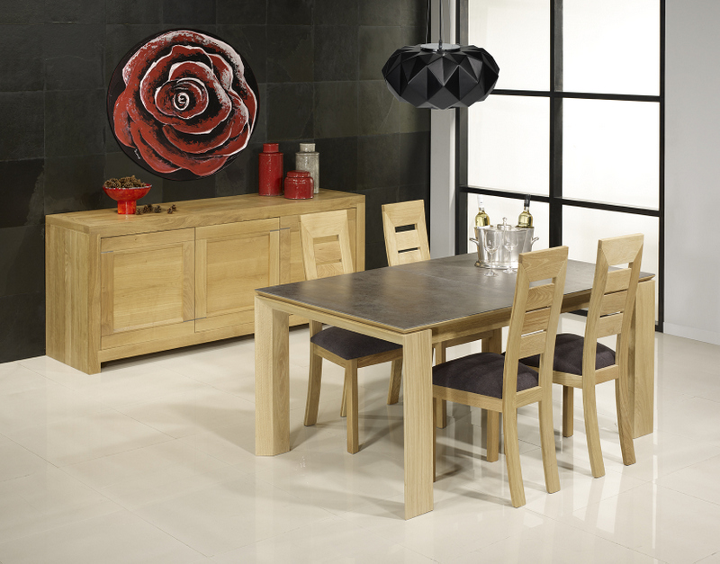 Table rectangulaire Gaspard  en Chêne PLATEAU CERAMIQUE 1 Allonge á l'italienne de 90 cm 160x110