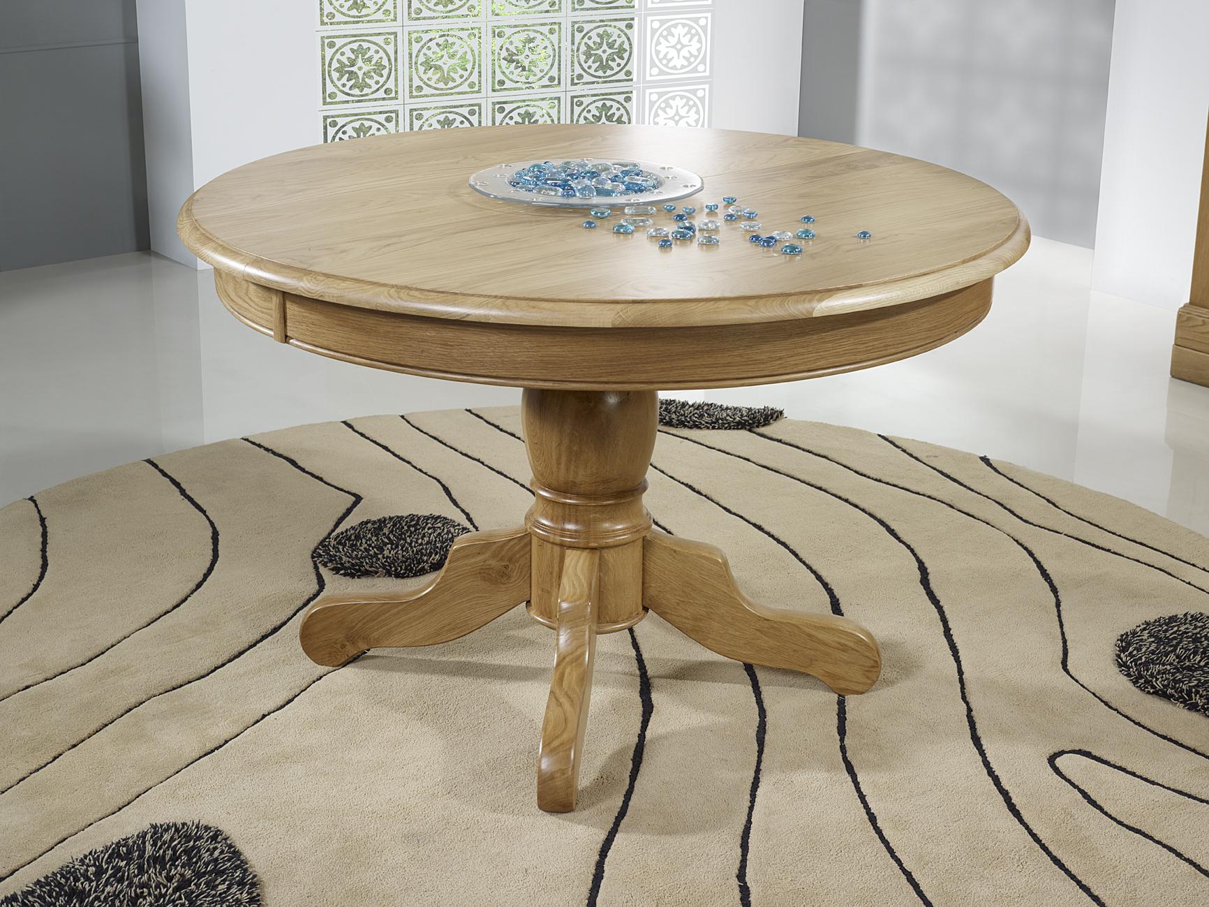 Table Ronde Pied Central Anna Réalisée En Chêne Massif De Style Louis Philippe Diametre 120 2 Allonges De 40 Cm