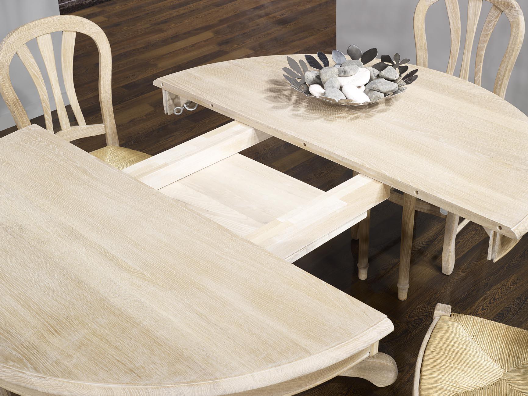 Table En Bois Chene Clair table ronde maude, pieds central diametre 140 réalisée en chêne massif de  style louis philipe finition chene brosse blanchi