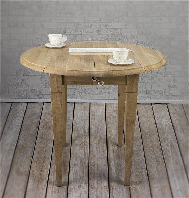 Table ronde à volets diamètre 110 en chêne massif de style Louis Philippe 2 allonges de 40 cm