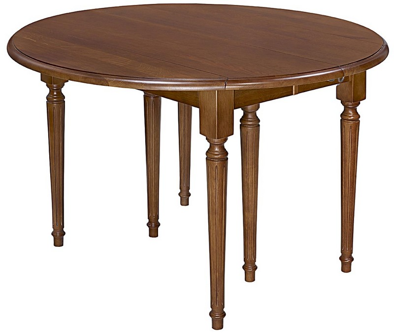 Table Ronde à Volets Réalisée En Chêne Massif De Style Louis Xvi Diamètre 120 3 Allonges De 40 Cm Finition Chêne Foncé Seulement 1