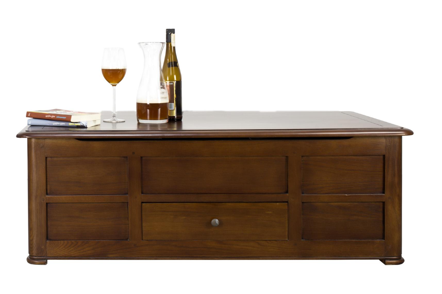 Table Basse Bar Hugo réalisée en Chêne de style Louis Philippe Finition  chêne foncé