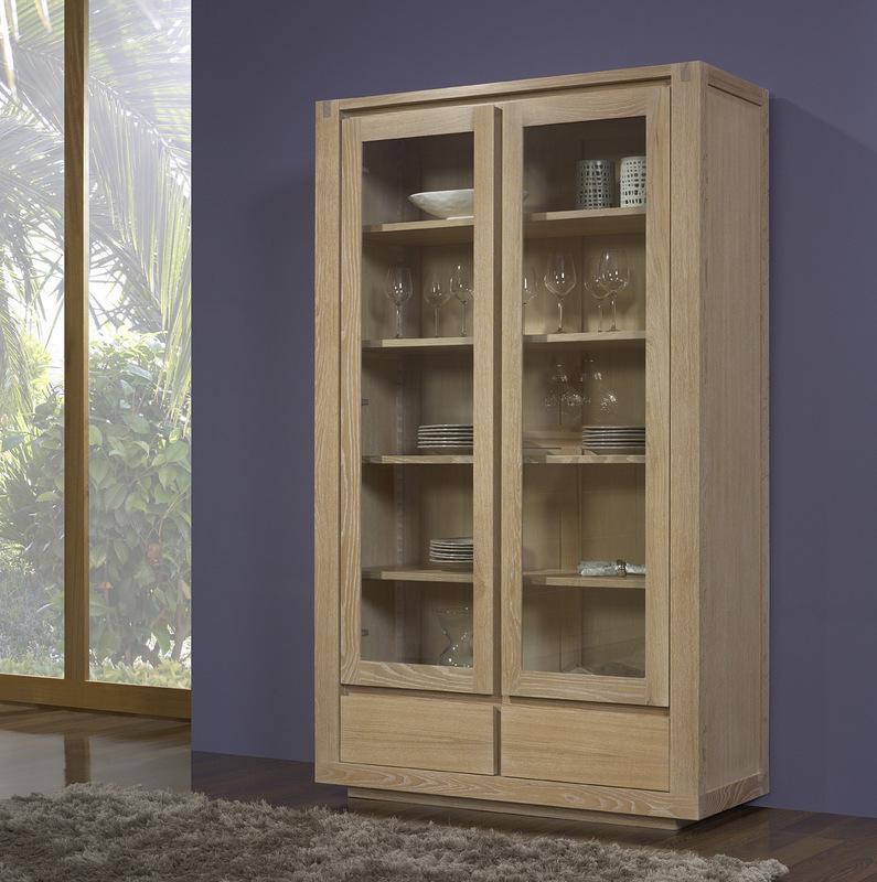 Bibliothèque 2 portes 2 tiroirs Mathis réalisée en Chêne LIGNE CONTEMPORAINE