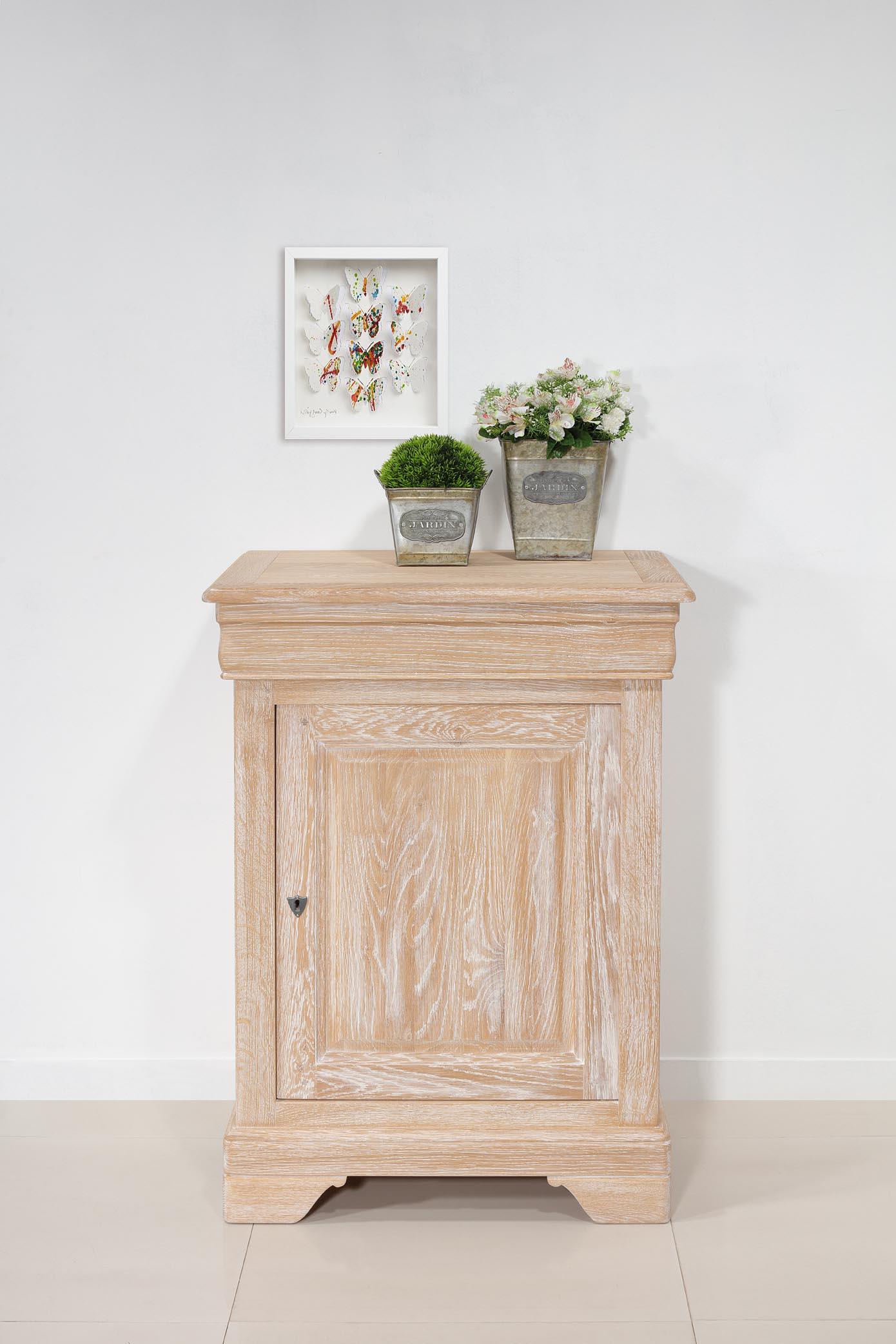 Confiturier   en Chêne Massif de style Louis Philippe Finition Chêne brossé blanchi