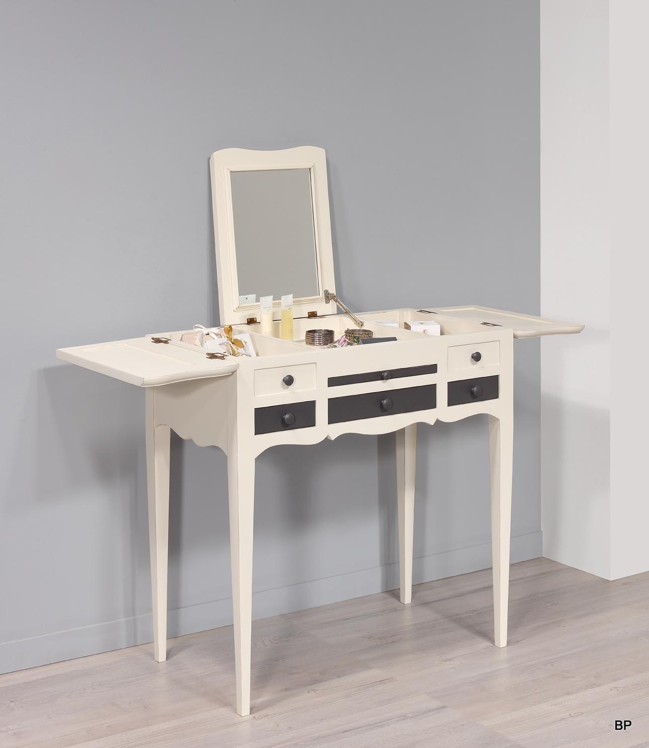 Table de toilette ou Coiffeuse   en merisier de style Louis Philippe Finiton Lin et Anthracite