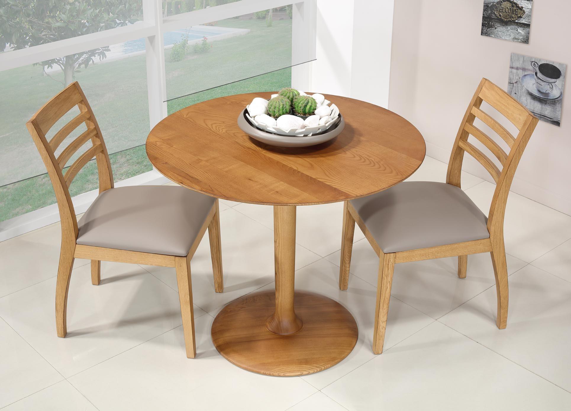 Petite table ronde pieds central  en Frêne Massif Diamètre 90 Ligne contemporaine