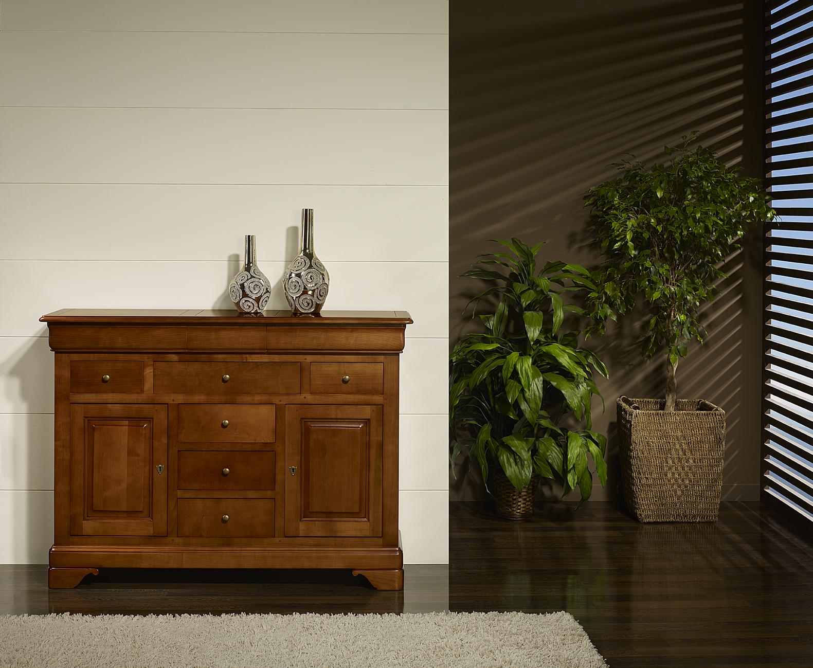 Buffet Flore 2 portes 9 tiroirs  en Merisier Massif de style Louis Philippe