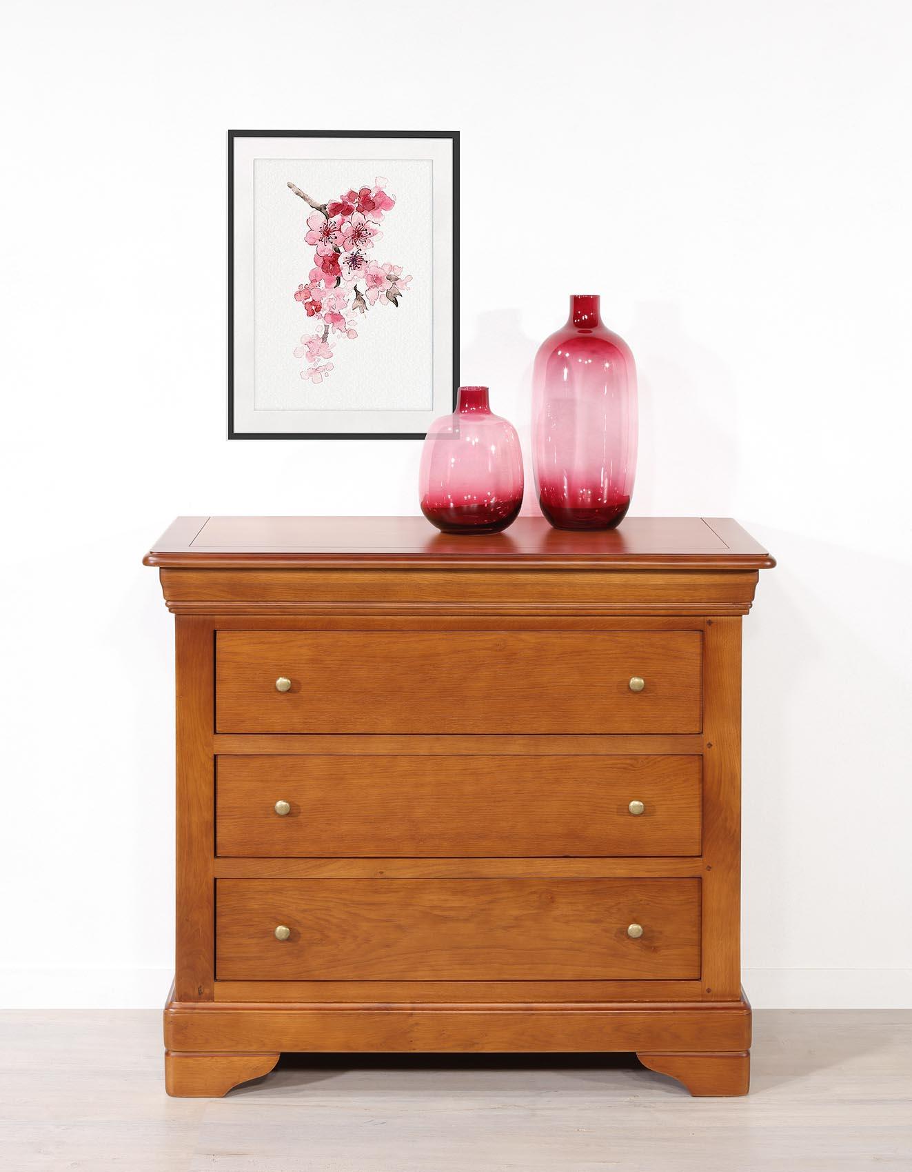 Commode 3 tiroirs Guillaume  en chêne de style Louis Philippe Finition Chêne Moyen SEULEMENT 1 DISPONIBLE