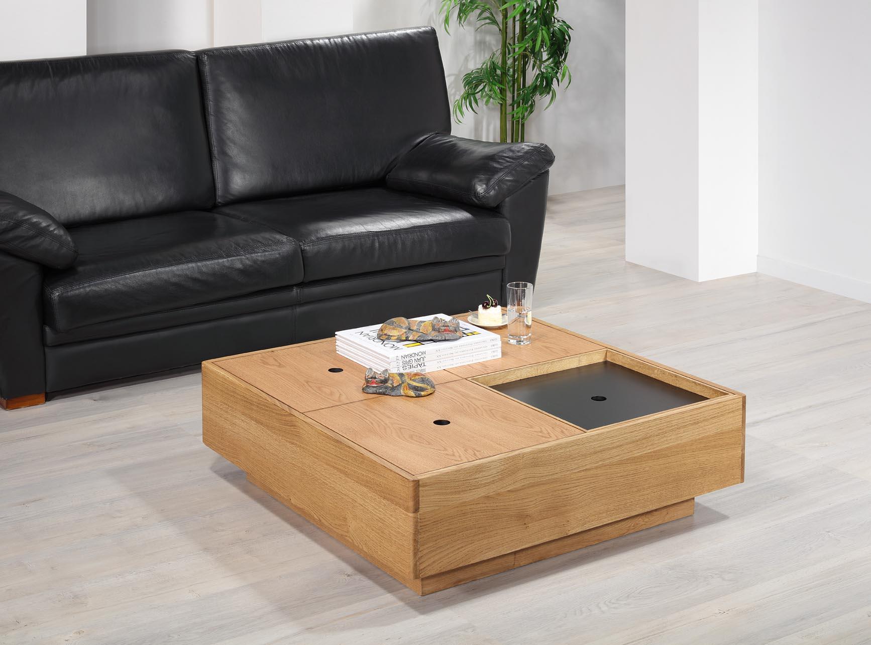 Table basse carrée 90x90 en Chêne de Ligne contemporaine coffres rangements
