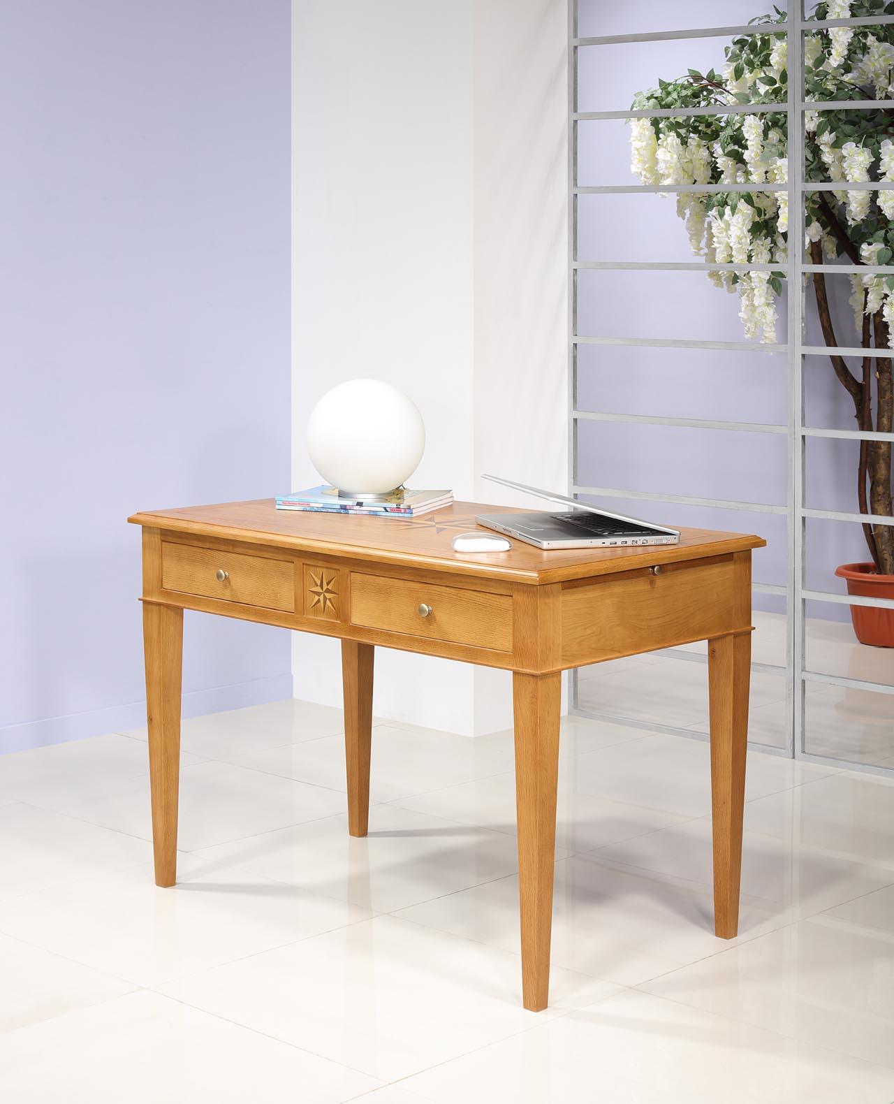 Table d'écriture 2 tiroirs ROSE DES VENTS  en Chêne de style Directoire SEULEMENT 1 DISPONIBLE