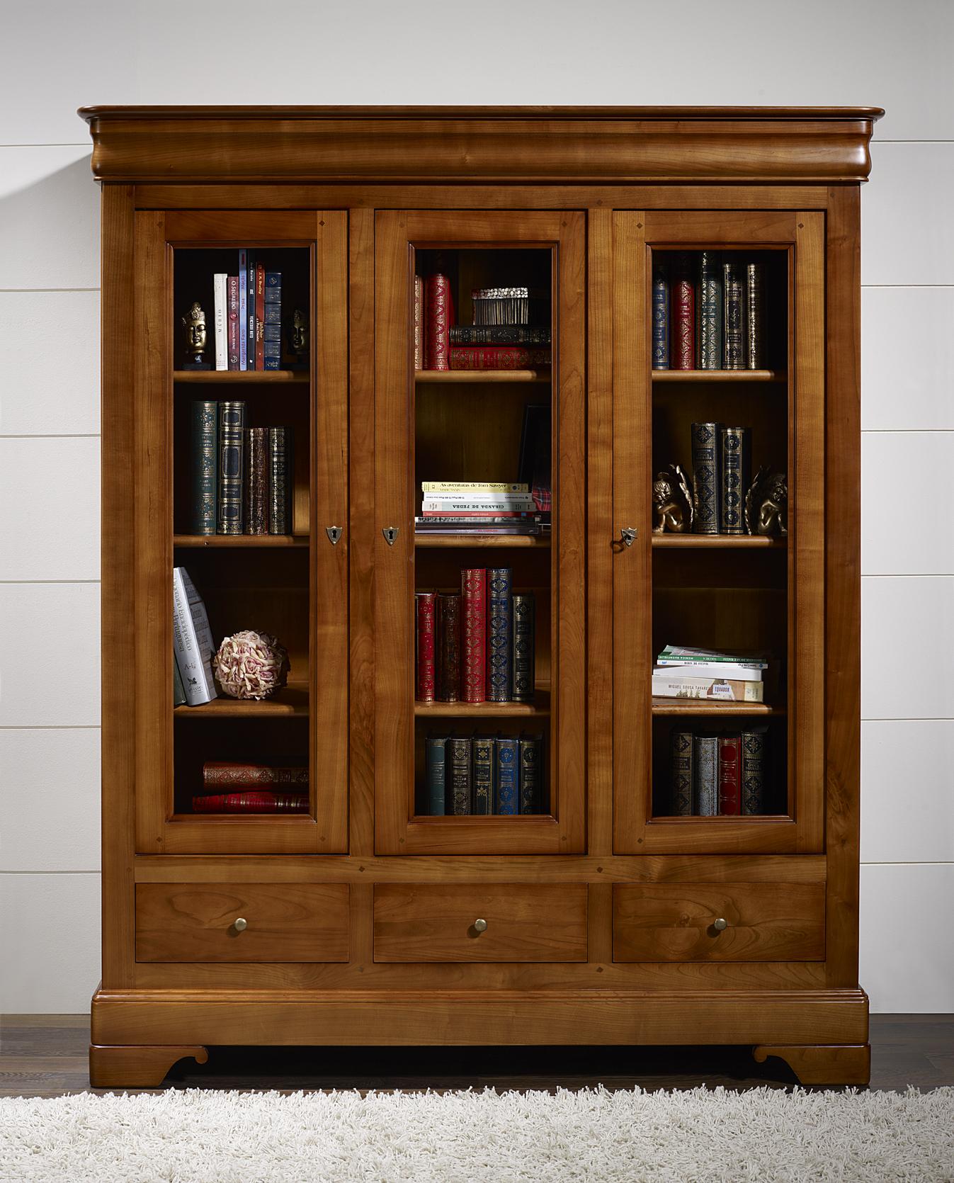 Bibliothèque 3 portes 3 tiroirs Thomas  en Merisier Massif de style Louis Philippe SEULEMENT 1 DISPONIBLE