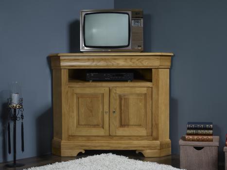 Meuble Tv D Angle Arnaud Realise En Chene Massif De Style Louis Philippe Finition Brosse