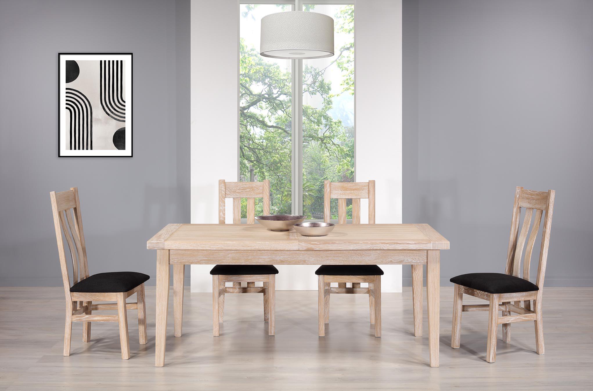 Table de Ferme Rectangulaire François  en Chêne massif  180*90 + 2 allonges de 45 cm Finition Chêne Brossé Blanchi