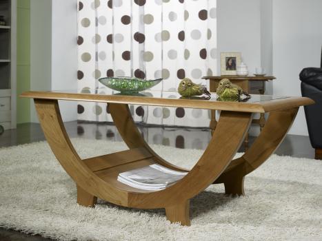 Superbe Table Basse Guillaume En Chene Massif Plateau Verre