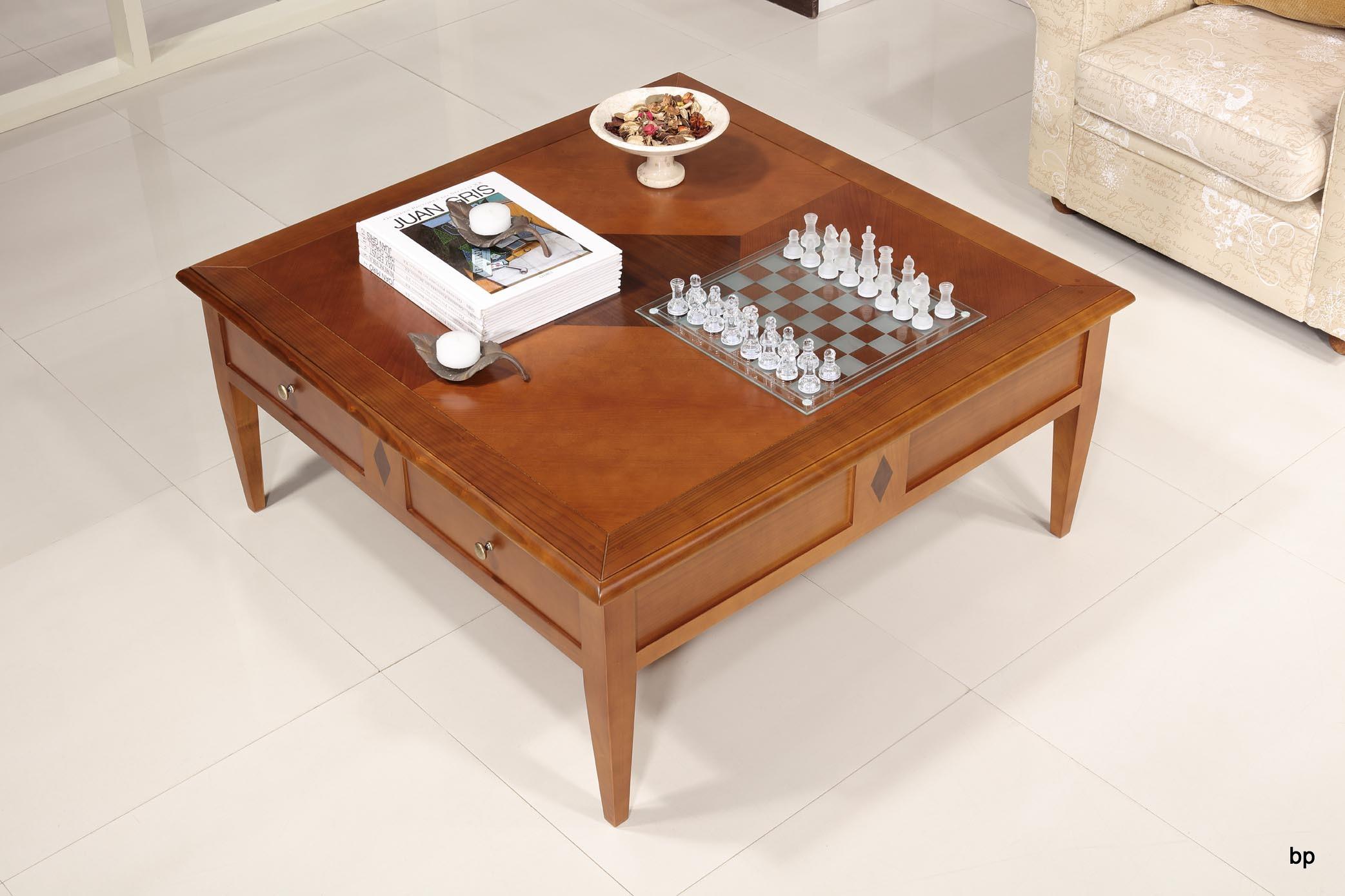 Table Basse   en merisier de style Directoire 80x80