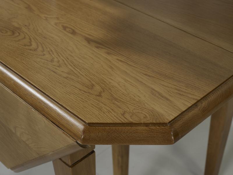 Table à Volets Octogonale 120x120 Réalisée En Chêne Massif 6 Pieds