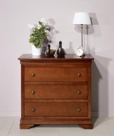 Commode 3 tiroirs Amélie  en Merisier Massif de style Louis Philippe Profondeur 48 cm
