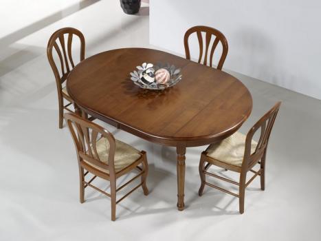 Table ovale 160x120 réalisée en Merisier Massif de style Louis Philippe