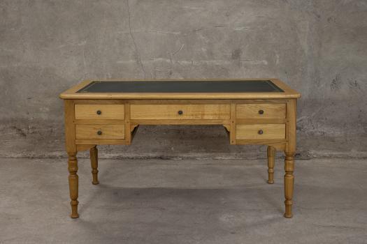 Bureau Ministre 5 tiroirs Hugo  en Chêne Massif de style Louis Philippe Finition Chêne doré patine antiquaire (vieillissement du bois)