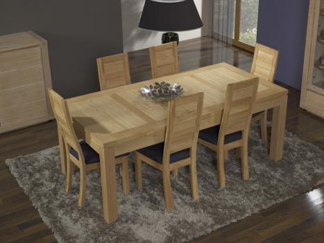 Table de repas rectangulaire 200X110 Alexandre  en Chêne Ligne Contemporaine 2 allonges portefeuilles de 50 cm