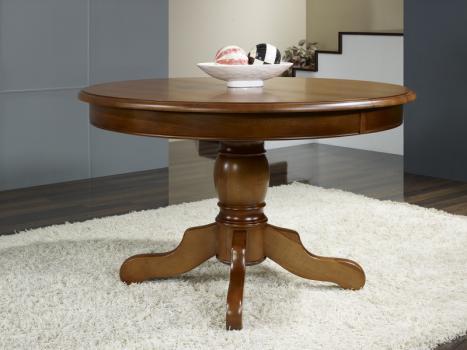 Table ronde pieds central Sabine  en merisier massif de style Louis Philippe DIAMETRE 110 + 2 allonges de 40 cm
