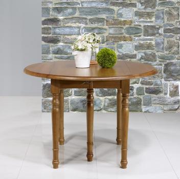 Table ronde à volets  en merisier massif de style Louis Philippe Diamètre 120 - 3 allonges de 40 cm