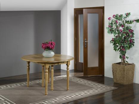Table ronde à volets  en Chêne Massif de style Louis Philippe Diamètre 120 - 4 allonges de 40 cm