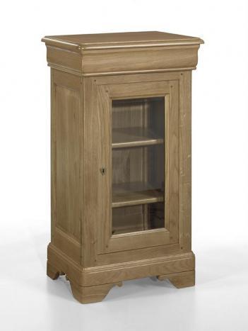 Petite vitrine 1 porte 1 tiroir  en Chêne Massif de style Louis Philippe Finition chêne brossé
