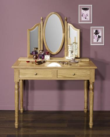 Table de toilette ou Coiffeuse Valérie  en chêne de style Louis Philippe