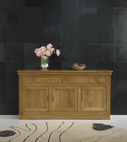 Buffet 3 portes 4 tiroirs  réalisé en chêne massif de style Louis Philippe Seulement 1 disponible