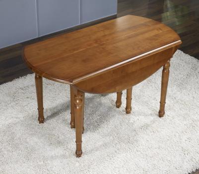 Table ovale à volets 135x110  en Merisier de style Louis Philippe avec 10 allonges de 40 cm