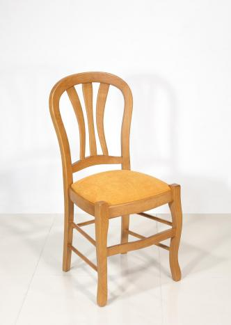 Chaise   en chêne massif de style Louis Philippe Assise colorie Moutarde