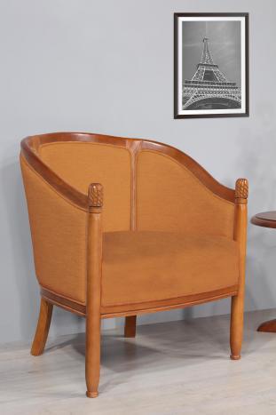 Fauteuil Cabriolet Caroline  en Hêtre Massif de style Louis Philippe Kénia n°15 Moutarde