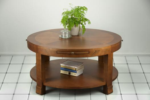 Table Basse Ronde Elsa  en Merisier de style Contemporain