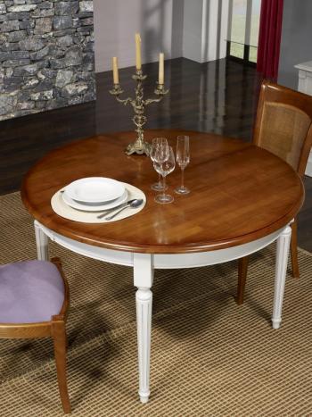 Table ronde 4 pieds Diane  en Merisier Massif de style Louis XVI Diamètre 120 Ceinture et pieds patiné Gris Perle