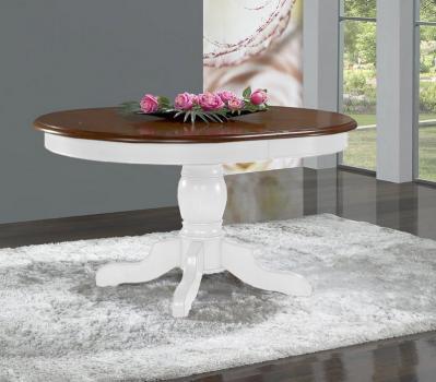 Table Ovale 135x110  pied central Delphine  en Merisier Massif de style Louis Philippe avec 2 allonges de 40 cm Pieds + ceinture : Lin Plateau + allonges Noyer clair