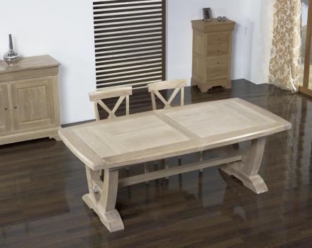Table rectangulaire Monastère realisée en chêne 220*110 + 2 allonges de 45 cm Finition Brossé Blanchi